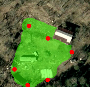 Locations of deer deterrents in our garden.