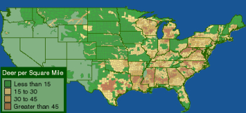 U.S. Deer population map